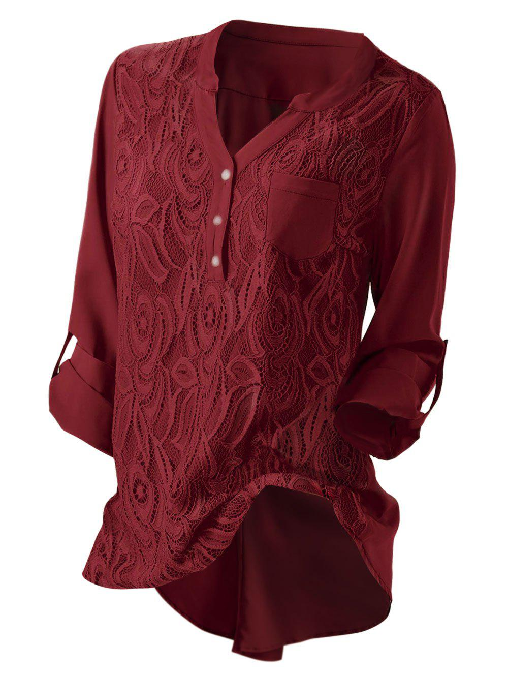 Hot Plus Size Roll Up Sleeve Lace Panel High Low Pockets Blouse