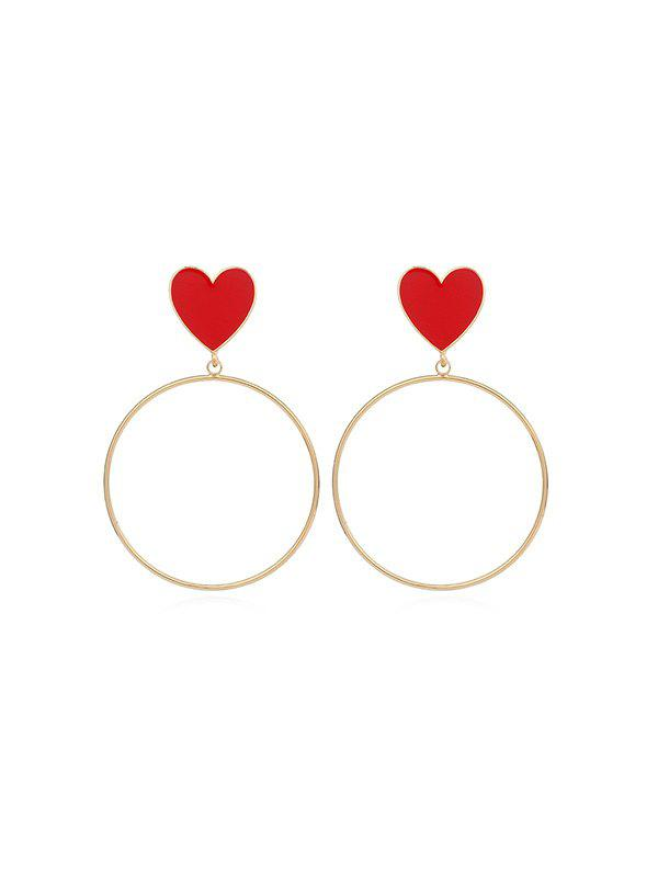 Chic Heart Circle Drop Earrings