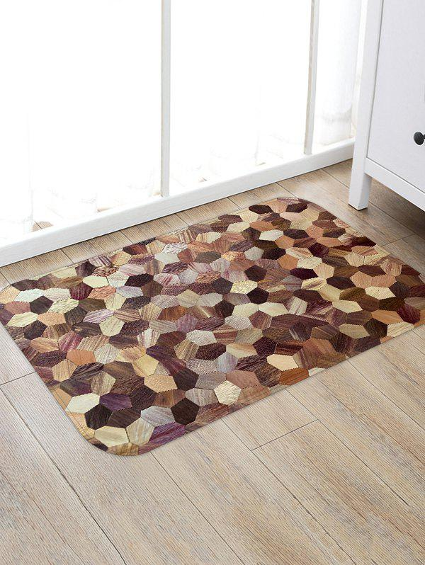Affordable Geometric Wooden Print Floor Mat
