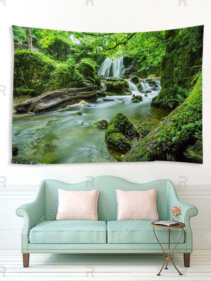 Trendy Forest Mossy Stream Print Tapestry Wall Art