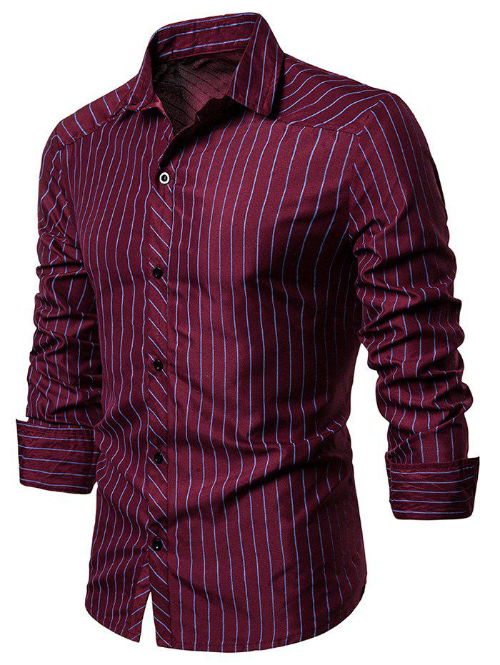 Fancy Contrast Pinstriped Button Up Long Sleeve Shirt