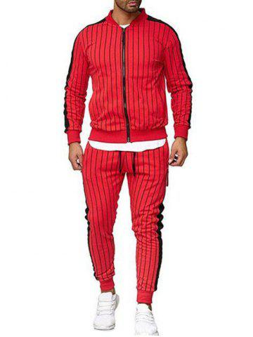Striped Print Casual Sports Suit