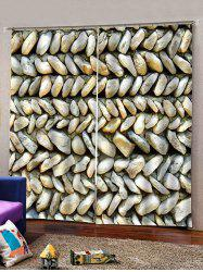 2Panels 3D Digital Printing Stone Window Curtain -