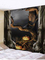 Halloween Dead Tree Pumpkin lamp Print Tapestry -
