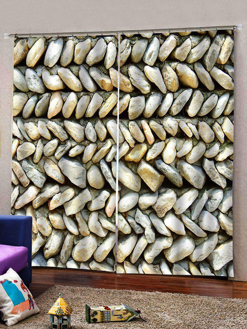 Fashion 2Panels 3D Digital Printing Stone Window Curtain