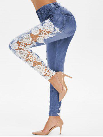 High Rise Applique Panel Sheer Elastic Jeggings - DENIM DARK BLUE - L