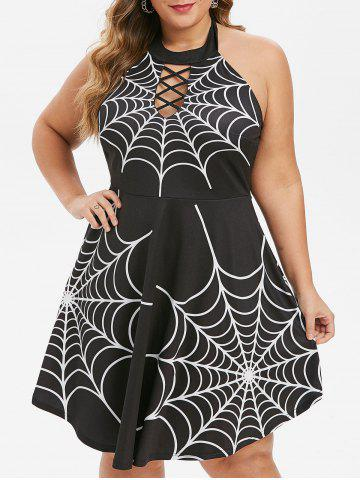 Plus Size Halloween Spider Web Backless Lattice Dress