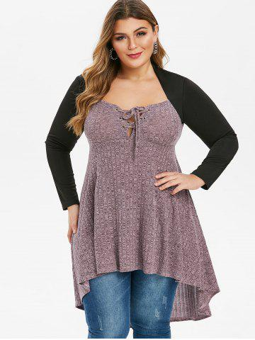 Plus Size Lace Up Marled High Low Long Tunic T-shirt