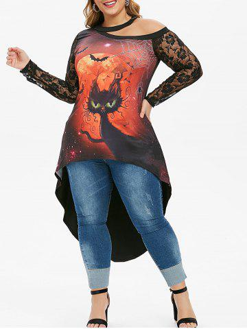 Plus Size Lace Panel Cat Halloween Choker Tee