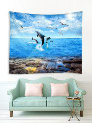 Dolphins Seagulls Pattern Print Tapestry -