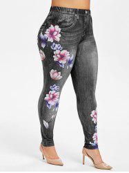Plus Size High Rise Floral Jean 3D Print Jeggings -