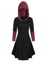 Hooded Glove Sleeve Lace-up Contrast Dress -