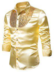 Sequined Panel Button Up Long Sleeve Shirt -