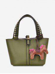 2Pcs Horse Pendant Wide Strap Handbag Set -