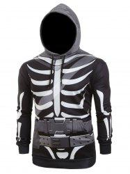 Halloween Skeleton Belt Print Casual Pullover Hoodie -