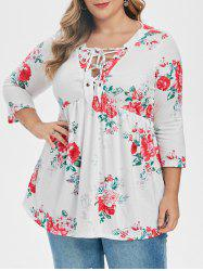 Plus Size Floral Lace-up Smock Top -