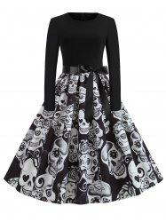 Plus Size Halloween Skull Print Vintage Swing 1950s Dress -