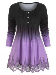 Pintuck Lace Panel Buttoned Ombre Tee -