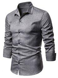 Heathered Button Up Long Sleeve Shirt -