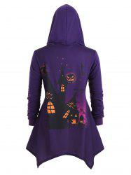 Plus Size Bat Pumpkin Print Asymmetrical Halloween Coat -