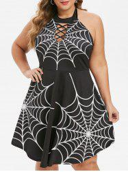 Plus Size Halloween Spider Web Backless Lattice Dress -