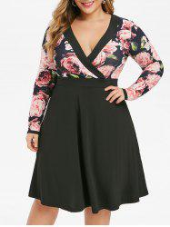 Plus Size Low Cut Floral Surplice Dress -