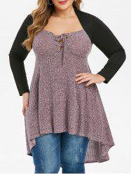Plus Size Lace Up Marled High Low Long Tunic T-shirt -