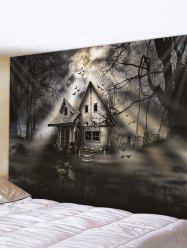 Halloween Moon Night House Print Tapestry Wall Hanging Art Decoration -