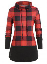 Plus Size Cowl Neck Brushed Plaid Tunic Sweatshirt -