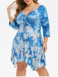 Plus Size Butterfly Print Cinched Empire Waist Dress -