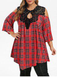 Plus Size Open Shoulder Lace Crochet Plaid Keyhole T-shirt -