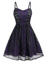 Plus Size Halloween Lace Skulls Grommet A Line Dress -