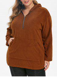 Plus Size Half Zipper Drop Shoulder Teddy Hoodie -