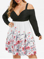 Plus Size Floral Cold Shoulder Surplice Dress -