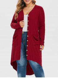 Plus Size Ribbed High Low Long Cardigan -
