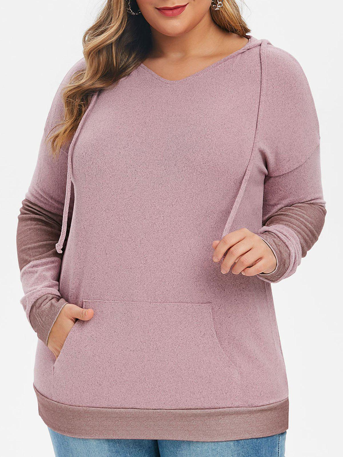 Hot Plus Size Front Pocket Knit Tunic Hoodie