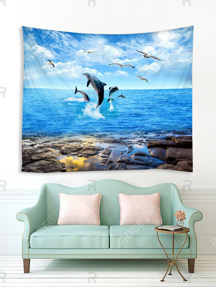 Affordable Dolphins Seagulls Pattern Print Tapestry