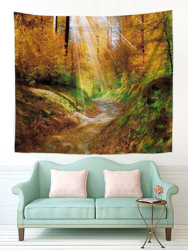 Trendy Sunlight Maple Forest Trail Print Tapestry Wall Hanging Art Decoration