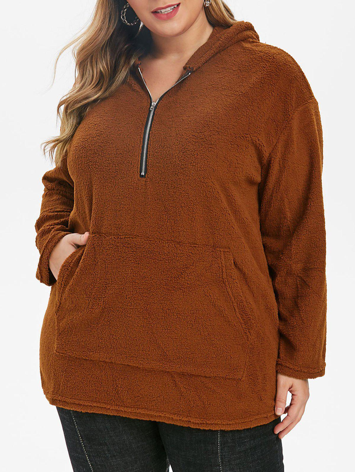 Unique Plus Size Half Zipper Drop Shoulder Teddy Hoodie