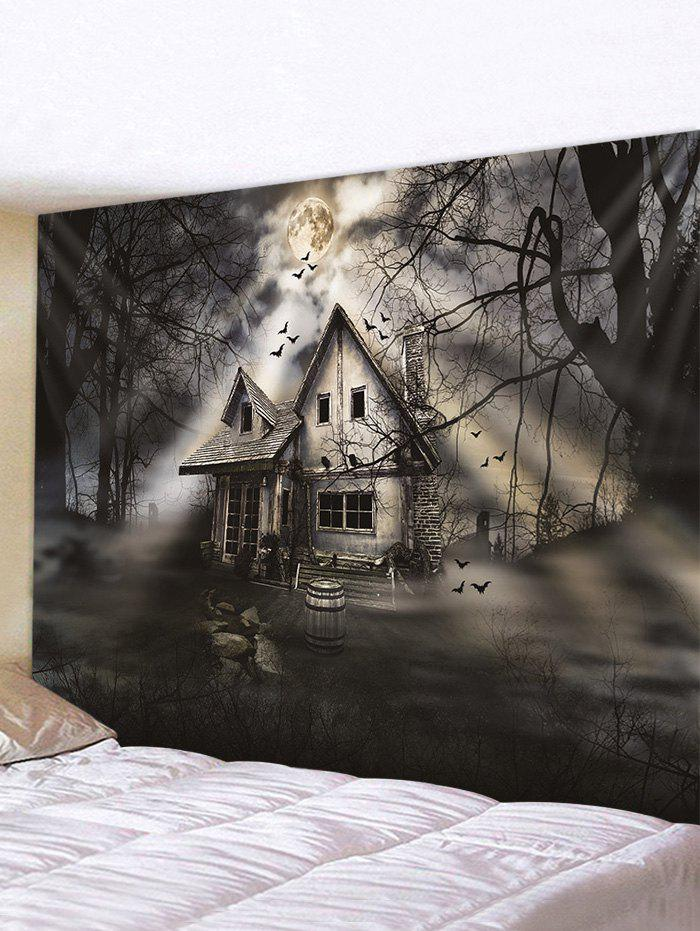 Sale Halloween Moon Night House Print Tapestry Wall Hanging Art Decoration