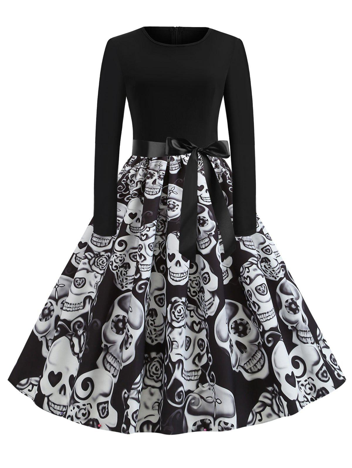Unique Plus Size Halloween Skull Print Vintage Swing 1950s Dress
