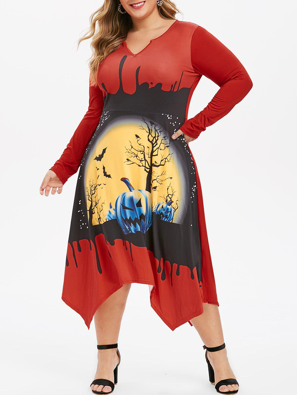 New Plus Size Pumpkin Bat Print V-notch Halloween Dress