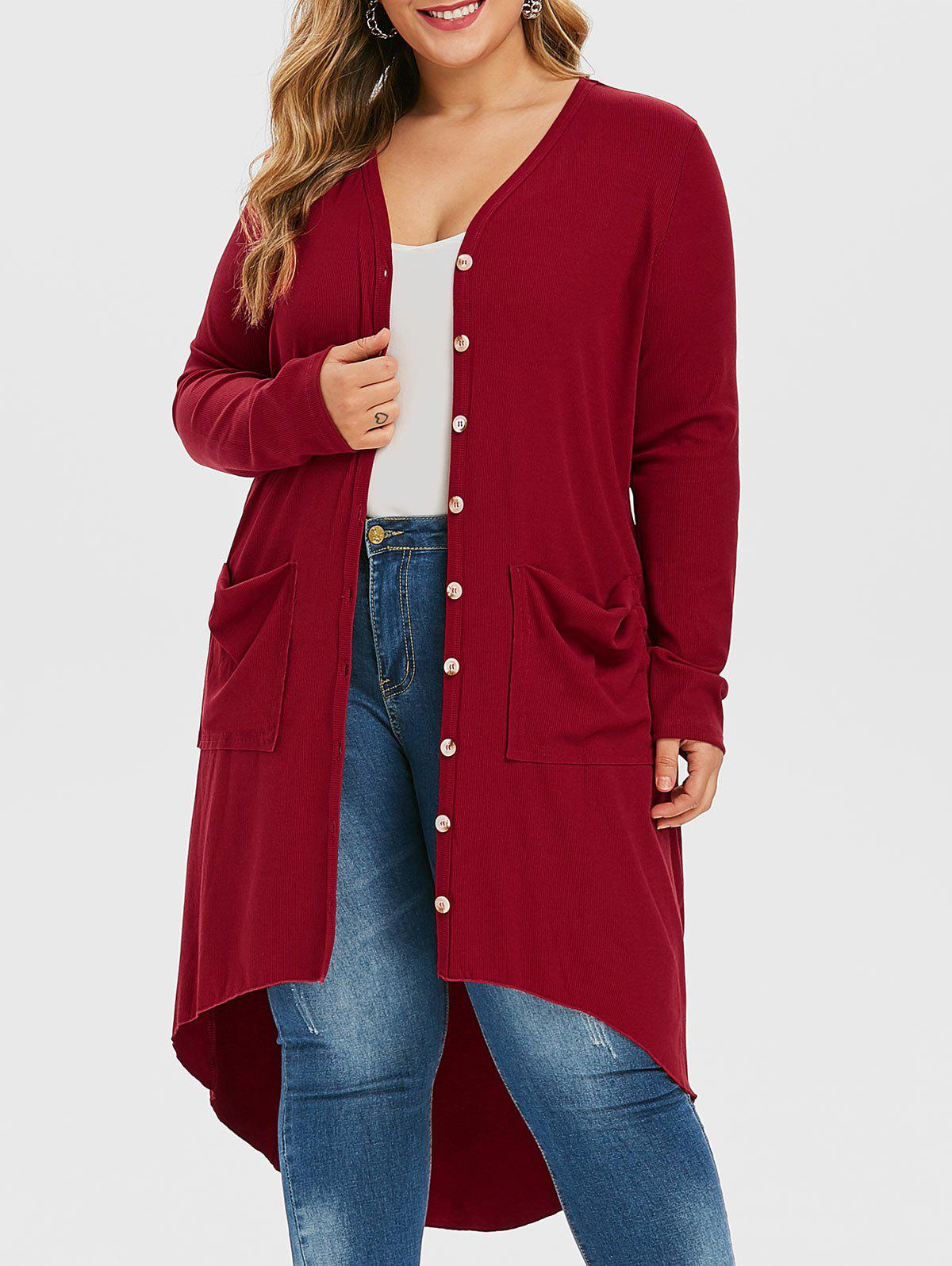 Shop Plus Size Ribbed High Low Long Cardigan