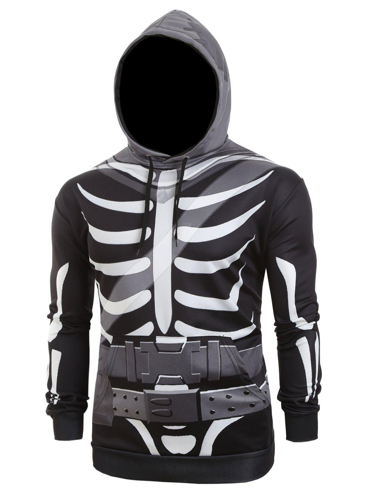Hot Halloween Skeleton Belt Print Casual Pullover Hoodie