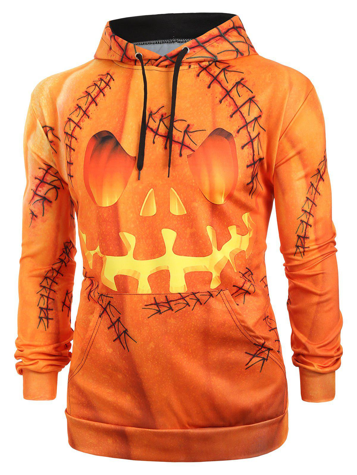 Cheap Halloween Pumpkin Print Kangaroo Pocket Pullover Hoodie