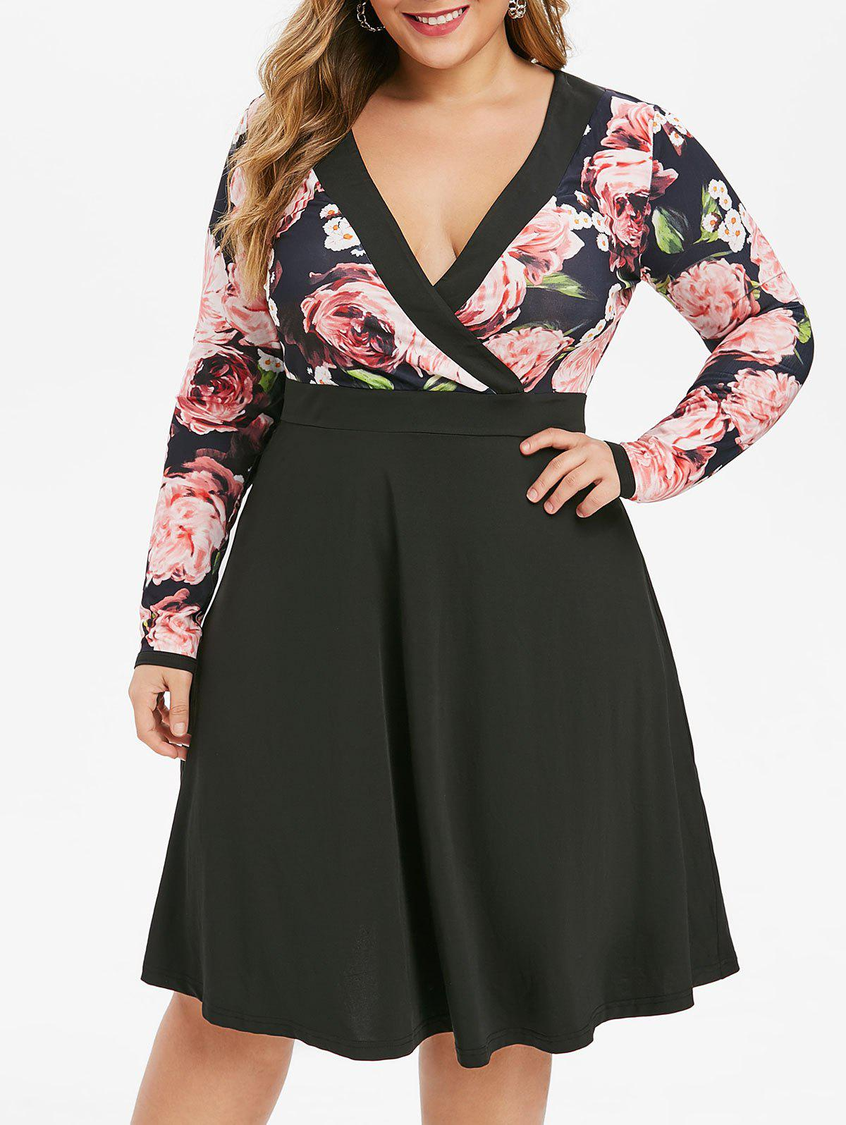 Store Plus Size Low Cut Floral Surplice Dress