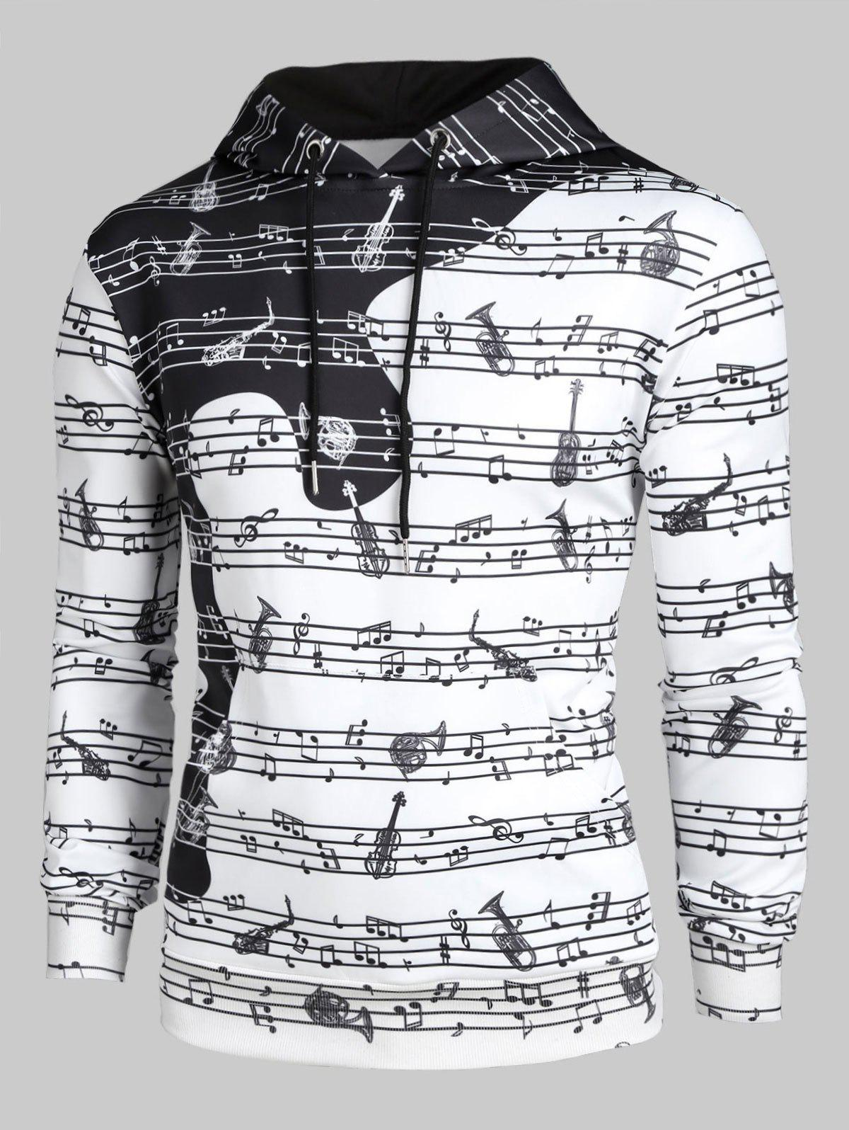 Chic Musical Note Print Casual Long-sleeved Hoodie