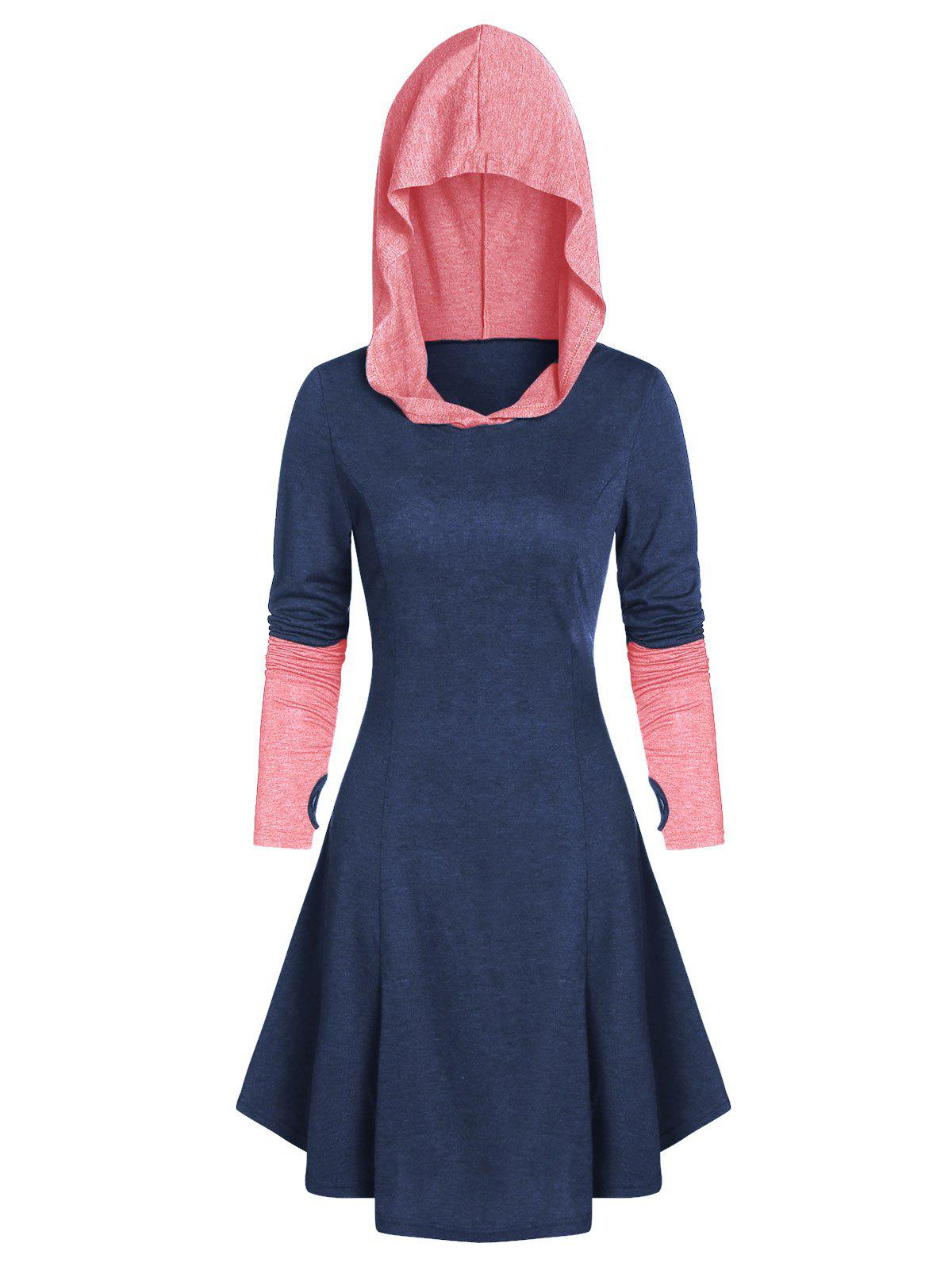 New Hooded Glove Sleeve Lace-up Contrast Dress