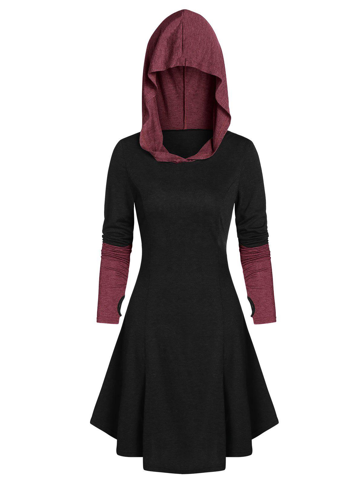 Shop Hooded Glove Sleeve Lace-up Contrast Dress