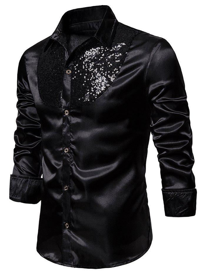 Best Sequined Panel Button Up Long Sleeve Shirt